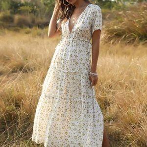 Boho V-Neck Floral Print Midi Dress